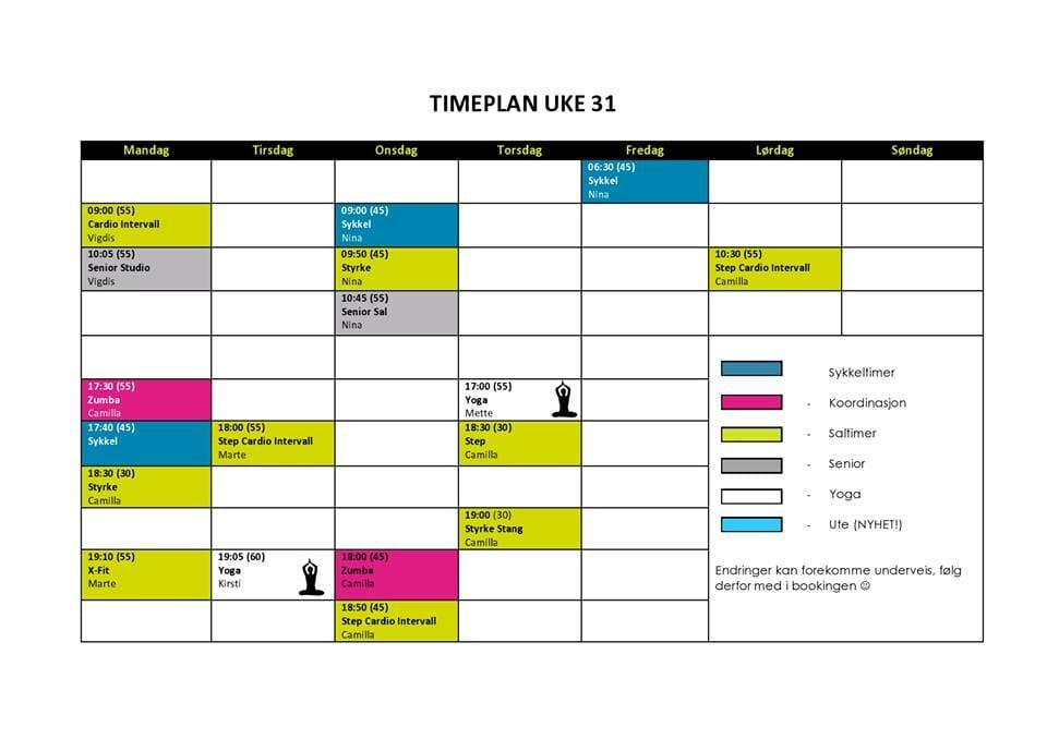 timeplan uke 31